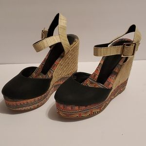 Black multi colored woven wedges!